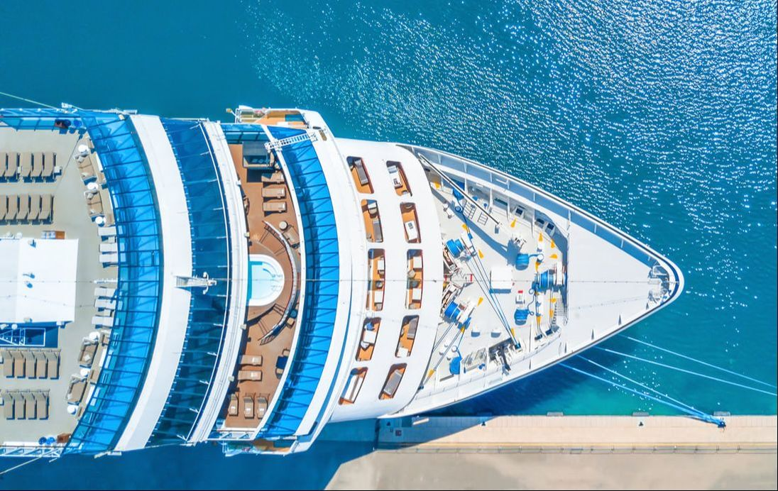Aerial image of cruise boat bow
